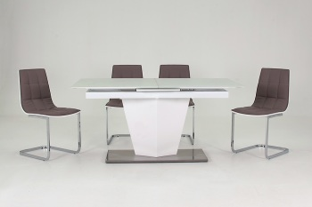 Essence Dining Table 1600mm (extendable to 2000mm) with 6 Dining Chairs (grey seat standard)