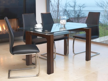 Maya Dining Table with 4 Black Dining Chairs
