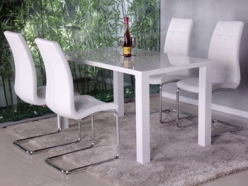 Neos White Gloss Dining Table & 4 Chairs