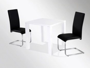 Neos White Gloss Square Dining Table & 4 Chairs