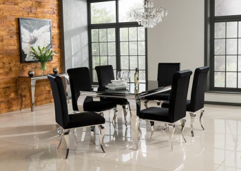 Louis 2 metre Dining Table + 6 Louis Chairs in Black or Silver