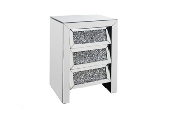 Crush Sparkle crystal Mirrored 3 Draw Slanted Chest