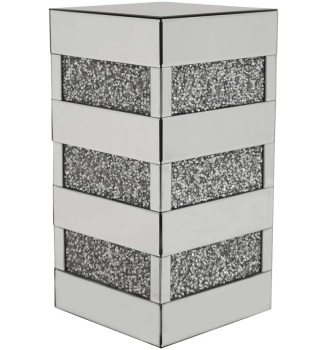 Crush Sparkle Crystal Mirrored Column Lamp Table
