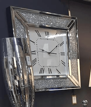* New Crush Sparkle Crystal Mirrored Clock 50cm x 50cm