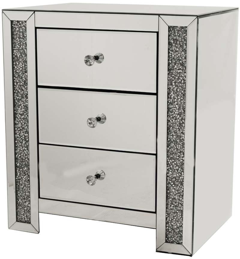 Crush Sparkle Crystal Mirrored 3 Draw Bedside Chest
