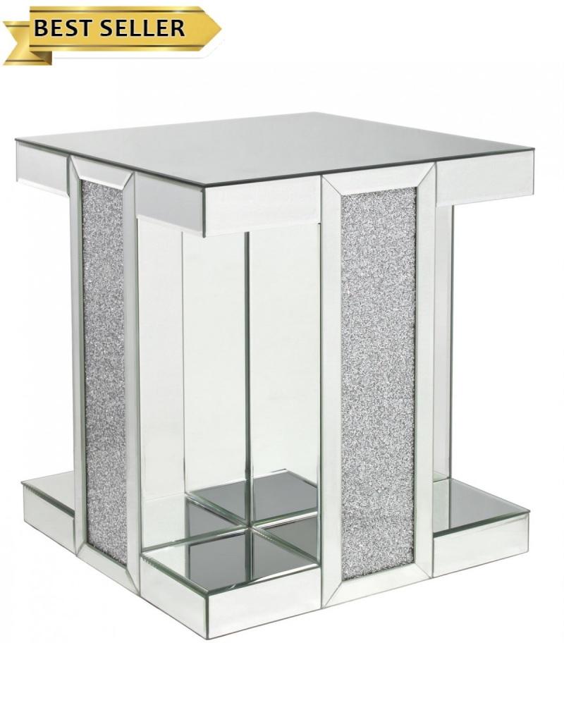 Crush Sparkle Mirrored Column Lamp Table