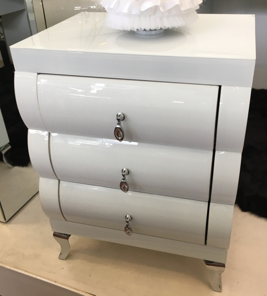 White Gloss Mirrored 5 Draw chest