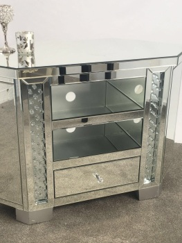Floating Crystals Mirrored Corner High TV Entertainment Unit