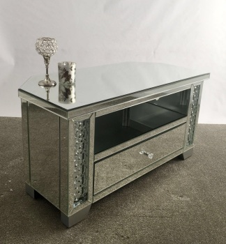 **Floating Crystals Mirrored Corner Low Tv Entertainment Unit - Free delivery