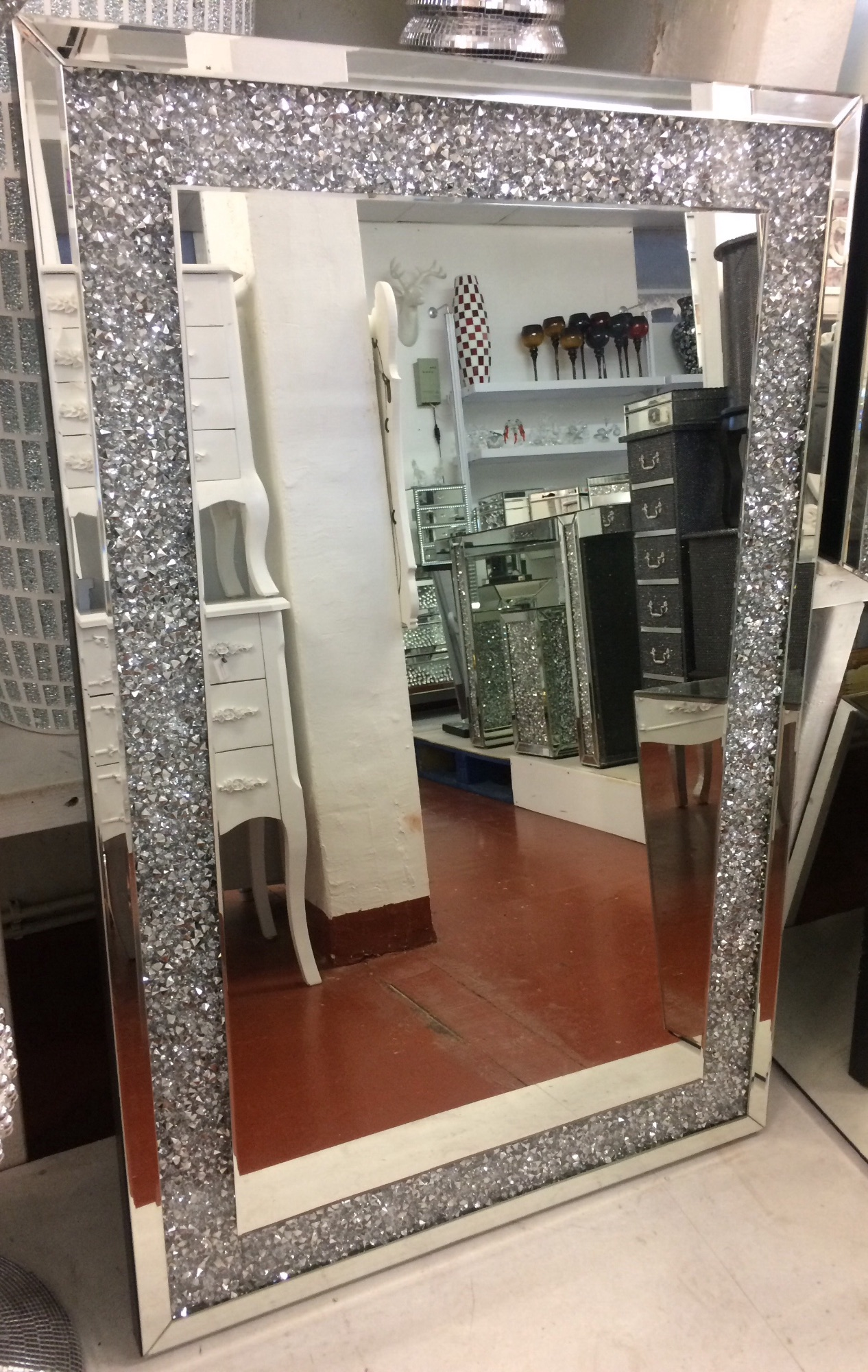 Crystal Wall Mirror crush sparkle wall mirrors and mirrored sparkle furniture