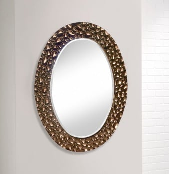 Rose Gold Ripple Oval wall Mirror