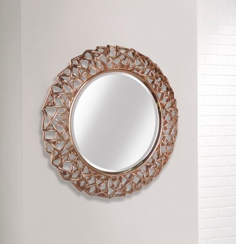 Rose Gold Leaf Round wall Mirror