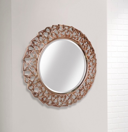 Favorite stunning rose gold large leaf framed decorative round mirror by  NW44