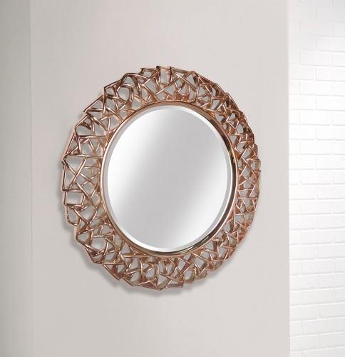 Rose Gold Leaf Round Wall Mirror