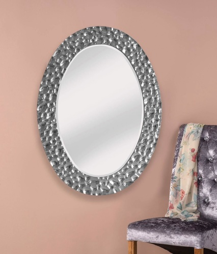Stunning silver ripple large framed decorative oval mirror for Large silver decorative mirrors
