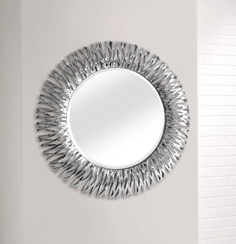 stunning silver shards large framed decorative round mirror by. Black Bedroom Furniture Sets. Home Design Ideas