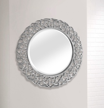 Silver Round Leaf wall Mirror