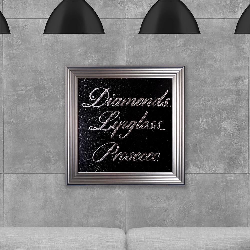 Eat Diamonds for Breakfast & Sparkle All Day on Black Glitter Backing 75cm