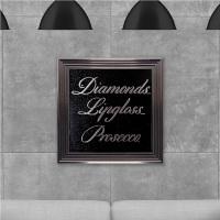 Diamonds Prosecco on Black Glitter Backing 75cm x 75cm