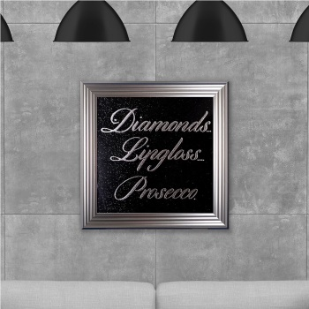 Diamonds Prosecco on Black Glitter Backing 75cm x 75cm