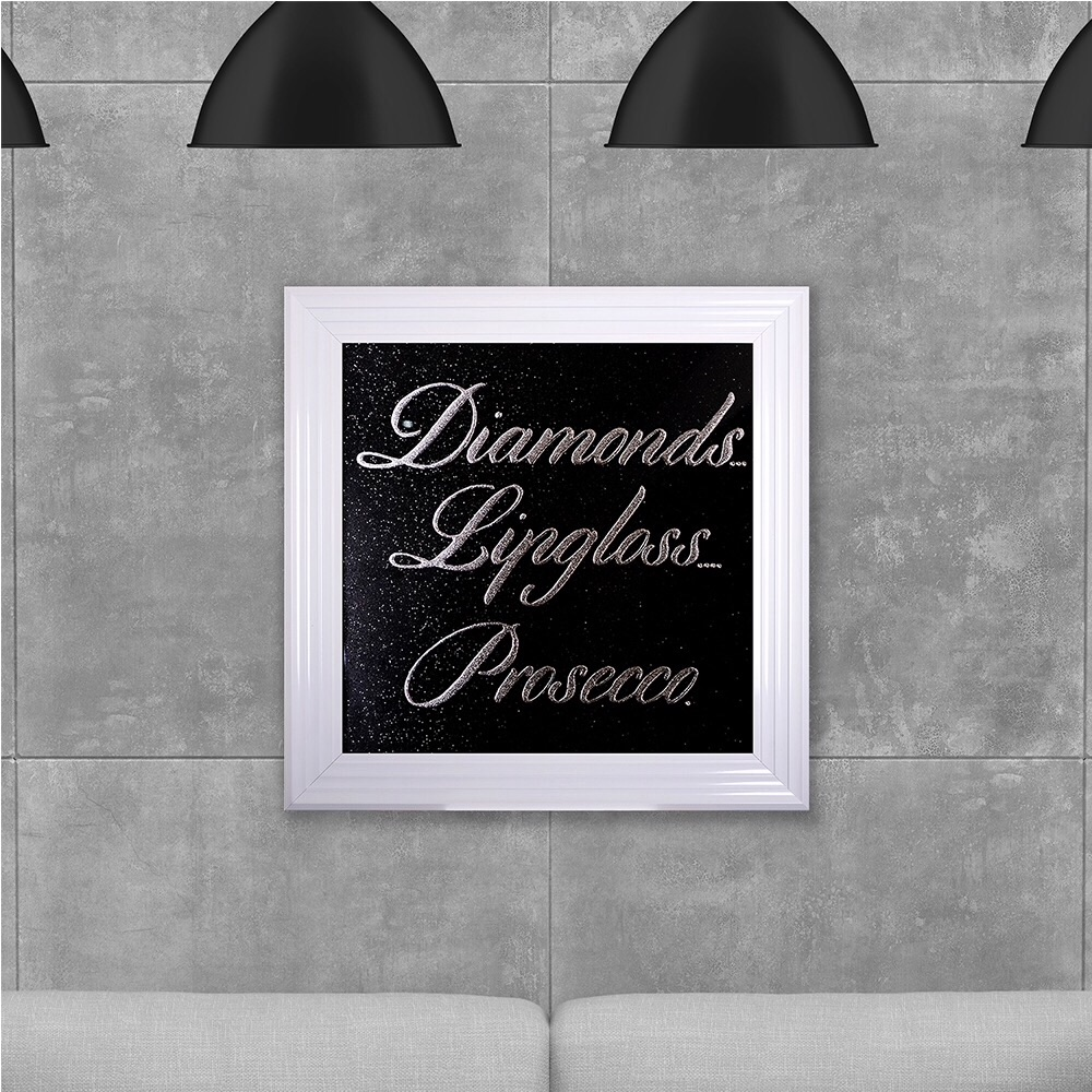 Diamonds Presecco on Black Glitter Backing 75cm x 75cm
