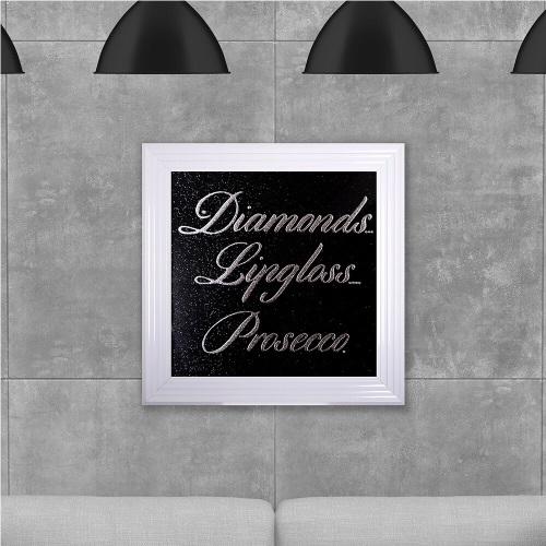 Diamonds Presecco on Black Glitter Backing 75cm x 75cm