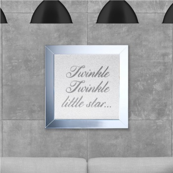 Twinkle Twinkle Little Star on White Glitter Backing 75cm x 75cm