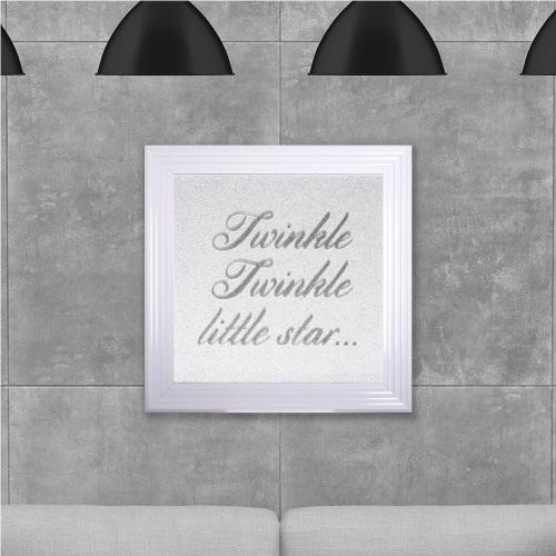 Twinkle Twinkle Little Star on White Glitter Backing 75cm x 75cm