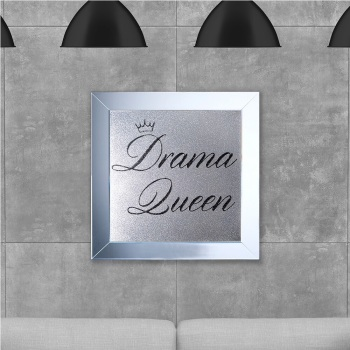 Drama Queen Black  on Silver Glitter Backing 75cm x 75cm