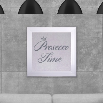 Prosecco time on white Glitter Backing 75cm x 75cm