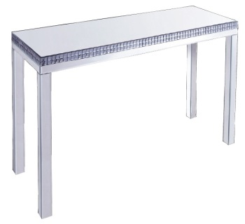 Silver Mirrored Console Table with smoked crystal border 110cm x 35cm x 85cm