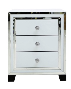 Atlanta  White Mirrored 3 Draw chest