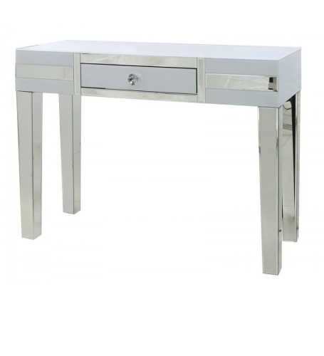 White Mirrored Manhatten Console Table Large