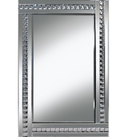 Frameless Bevelled Crystal Border Silver Mirror 80cm x 60cm