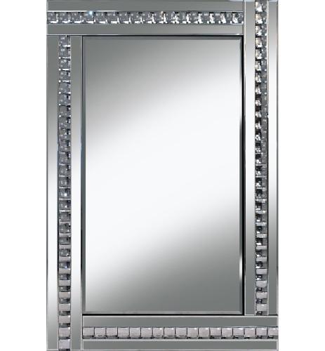 Frameless bevelled crystal border silver mirror 80cm x 60cm for Mirror 60cm x 80cm