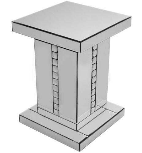 Crystal Border Mirrored Lamp Table