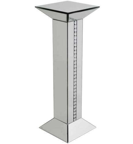 Crystal Border Mirrored Tall Pedestal