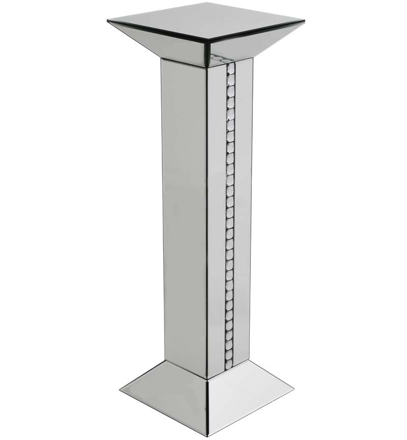 Crystal Border Mirrored Tall Pedestal