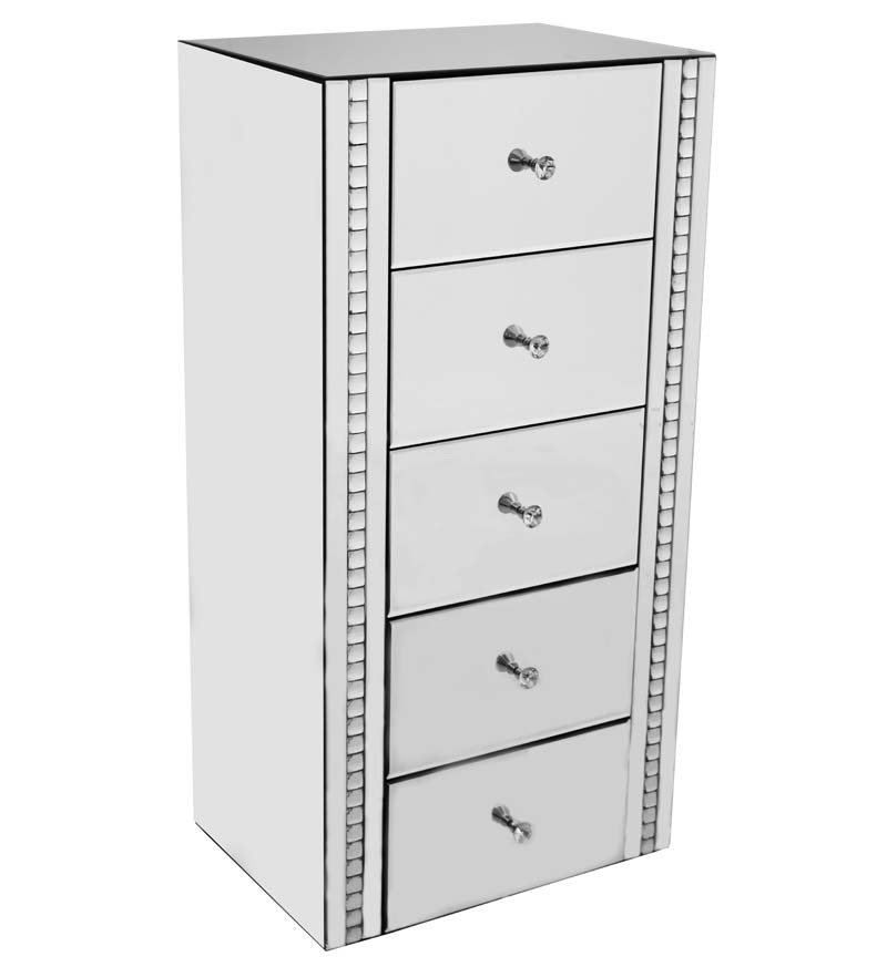 Crystal Border Mirrored 5 draw Tall Chest