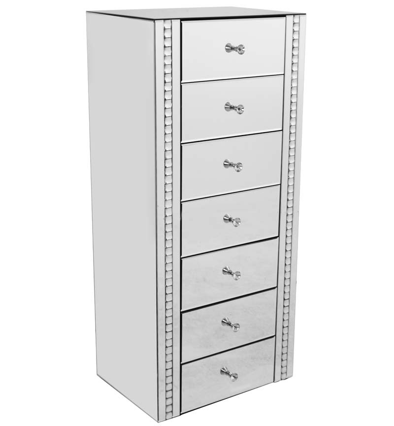 Crystal Border Mirrored 7 draw Tall Chest