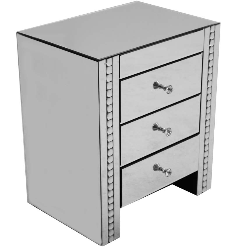 Crystal Border Mirrored 3 draw Chest