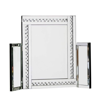 *Special Offer Glitz Floating Crystals Silver Tri fold Mirror 78cm x 54cm