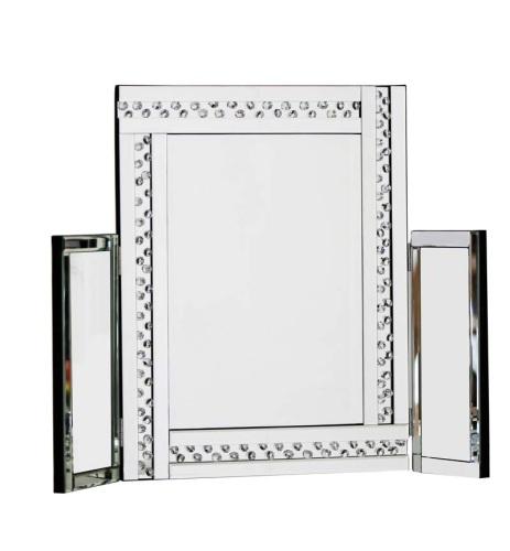 *Special Offer Floating Crystals Glitz Silver Tri fold Mirror 78cm x 54cm