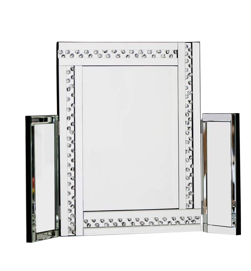 *Special Offer Floating Crystals Glitz Silver Tri fold Mirror 78cm x 54cm