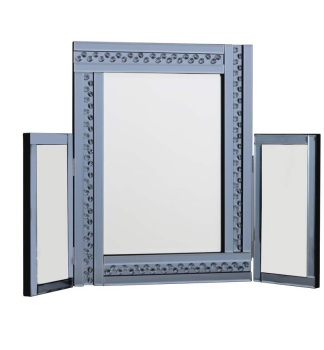 *Special Offer Glitz Floating Crystals Smoked Grey Tri fold Mirror 78cm x 54cm