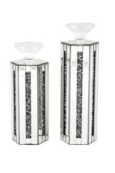 Crush Sparkle Mirrored Hex Tea light Holder Large