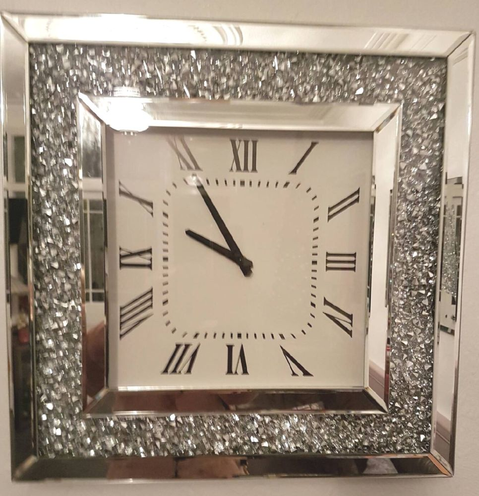 Crush Sparkle Crystal Mirrored Clock 50cm x 50cm