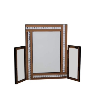 Crystal Border Tri Fold Mirror Bronze 78cm x 54cm
