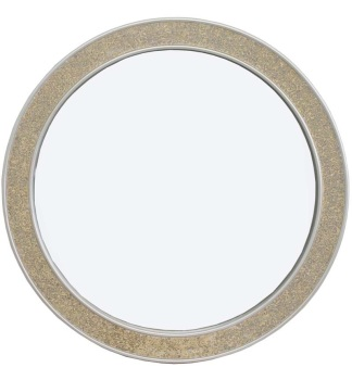 Flat Bar  Crushed glass Mosaic Sparkle Bevelled Round Mirror in Champagne 80cm