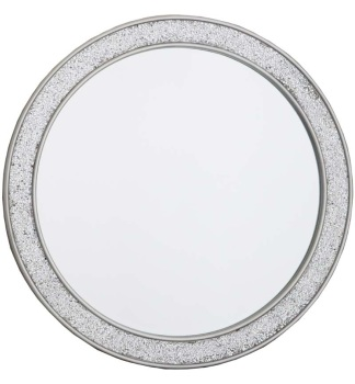 Flat Bar Crushed glass Mosaic Sparkle Bevelled Round Mirror in Silver 80cm